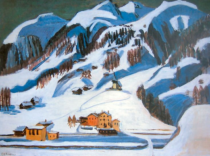 Kirchner Mountains and Houses in the Snow
